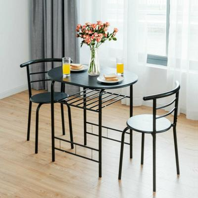 3-Piece Black Dining Set Bistro Table Set with Chairs