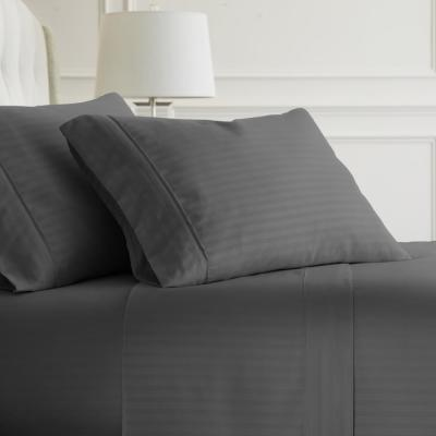 4-Piece Gray Striped Microfiber King Sheet Set
