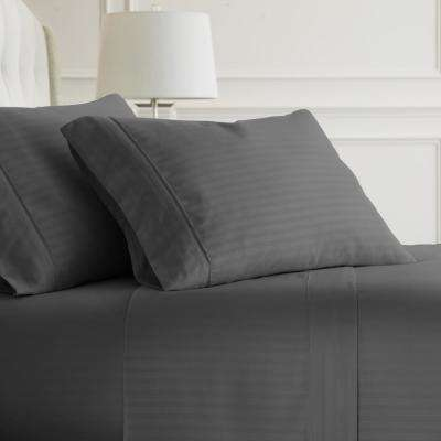 Embossed Striped 4-Piece Gray King Performance Bed Sheet Set