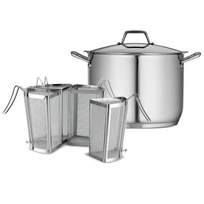 Gourmet Prima 16 qt. Stainless Steel Stock Pot with Lid and Pasta Inserts