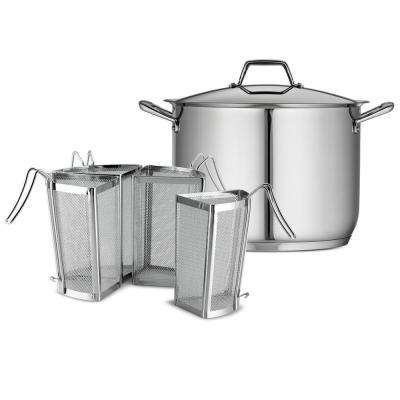 Gourmet Prima 16 Qt. Stainless Steel Stock Pot with Pasta Inserts and Lid