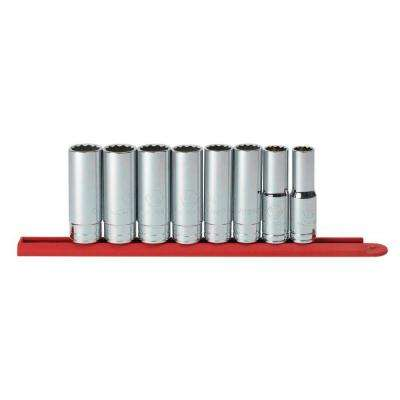 1/2 in. Drive 12-Point Deep SAE Socket Set (8-Piece)