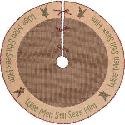 55 in. Wise Men Evergreen Green Rustic Christmas Decor Tree Skirt