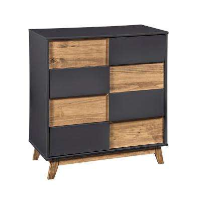 Livonia 2.0 31.49 in. Wide 4-Drawer Dark Grey and Natural Wood Dresser