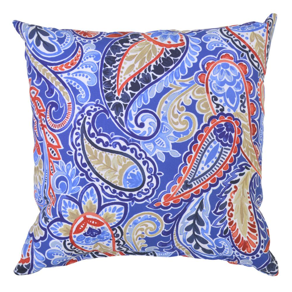 Hampton Bay Mariner Paisley Square Outdoor Throw Pillow