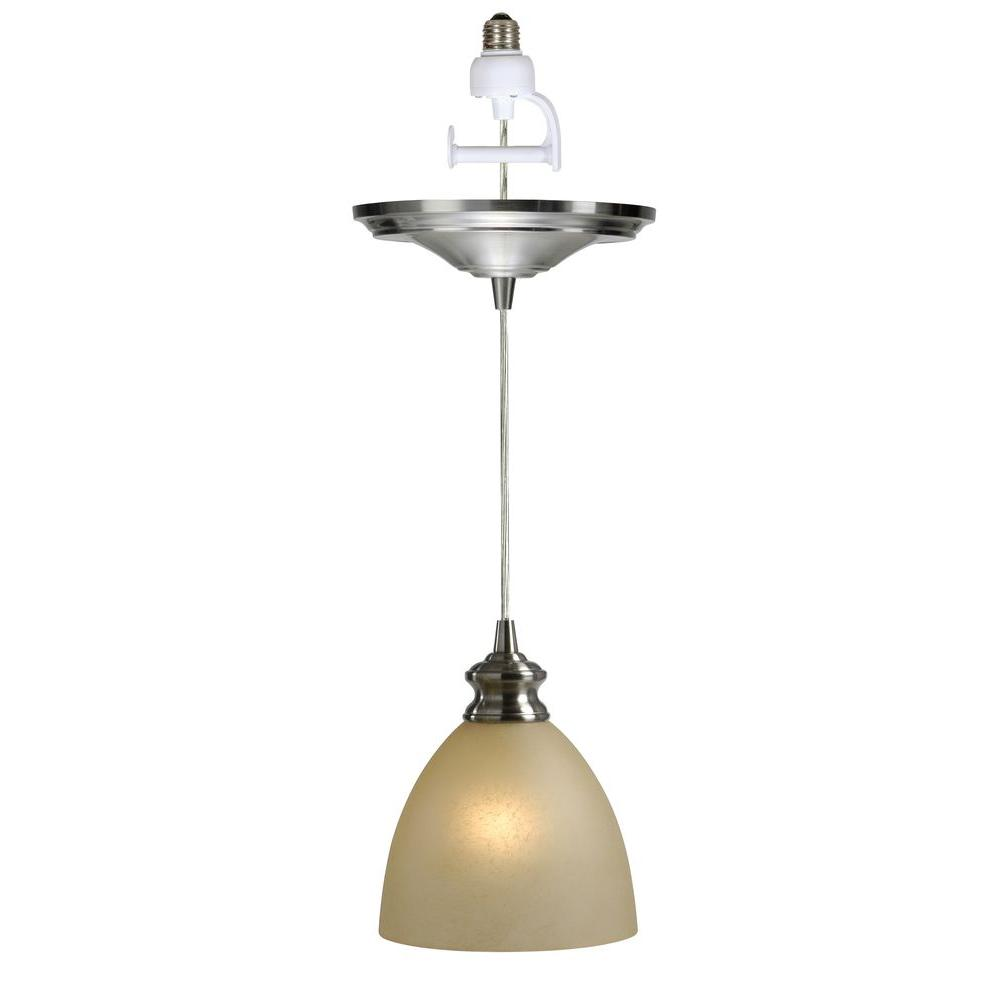 Worth Home Products Instant Pendant 1 Light Recessed Conversion Kit Brushed Nickel Parchment Gl