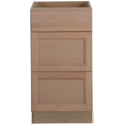 Easthaven Shaker Assembled 18x34.5x24 in. Frameless Base Cabinet with 3-Drawers in Unfinished Beech