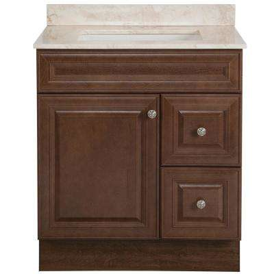 Glensford 31 in. W x 22 in. D Bathroom Vanity in Butterscotch with Stone Effects Vanity Top in Dune with White Sink