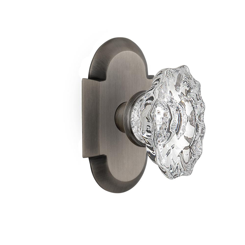 Cottage Plate 2-3/8 in. Backset Antique Pewter Privacy Chateau Door Knob