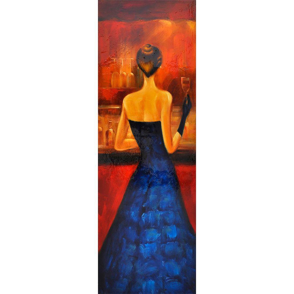 """Yosemite Home Decor 20 in. x 59 in. """"Women of Distinction Blue"""" Contemporary Artwork"""
