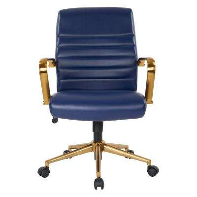 Mid-Back Navy Faux Leather Chair with Gold Arms and Base