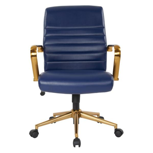 OSP Home Furnishings Mid-Back Navy Faux Leather Chair with Gold Arms
