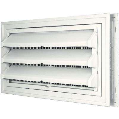 9-3/8 in. x 17-1/2 in. Foundation Vent Kit with Trim Ring and Optional Fixed Louvers (Galvanized Screen) in #123 White