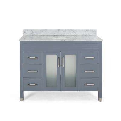 Halston 48 in. W x 22 in. D Bath Vanity with Carrara Marble Vanity Top in Grey with White Basin