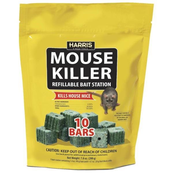 Mouse Killer Bars with Refill Bait Station (10-Pack)