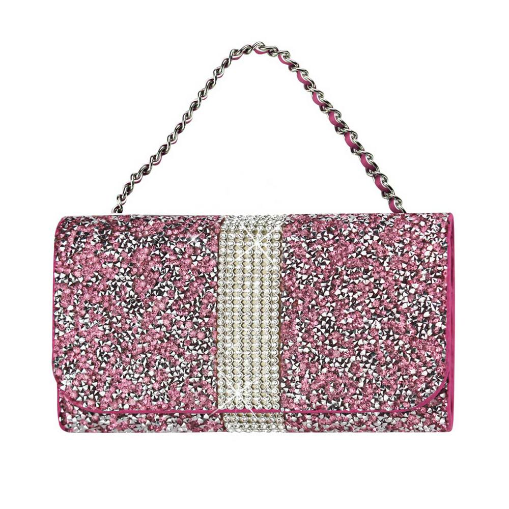 REIKO Large Rhinestone Pouch in Pink