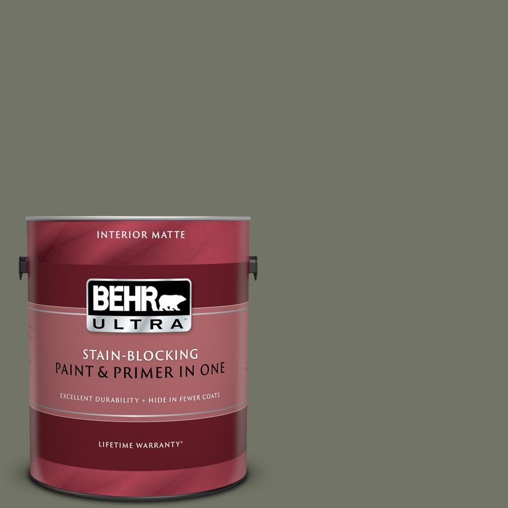 Behr Ultra 1 Gal Bxc 44 Pepper Mill Matte Interior Paint And Primer In One 175301 The Home Depot