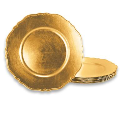 Scallop Gold 13 in. Antique Gold Charger Plate (Set of 8)