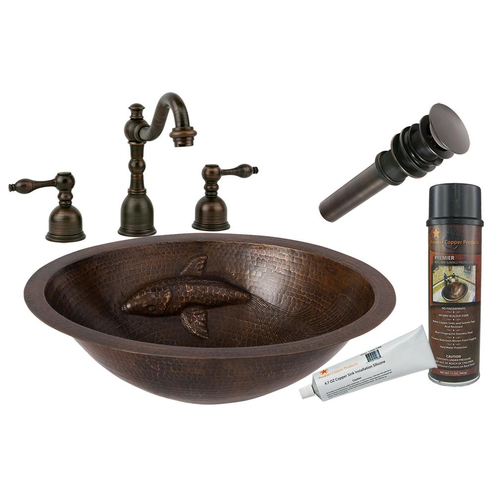 All-in-One Oval Copper Bathroom Sink with One Large Koi Fish Design