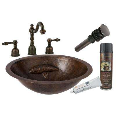 All-in-One Oval Copper Bathroom Sink with One Large Koi Fish Design and Widespread Faucet in Oil Rubbed Bronze