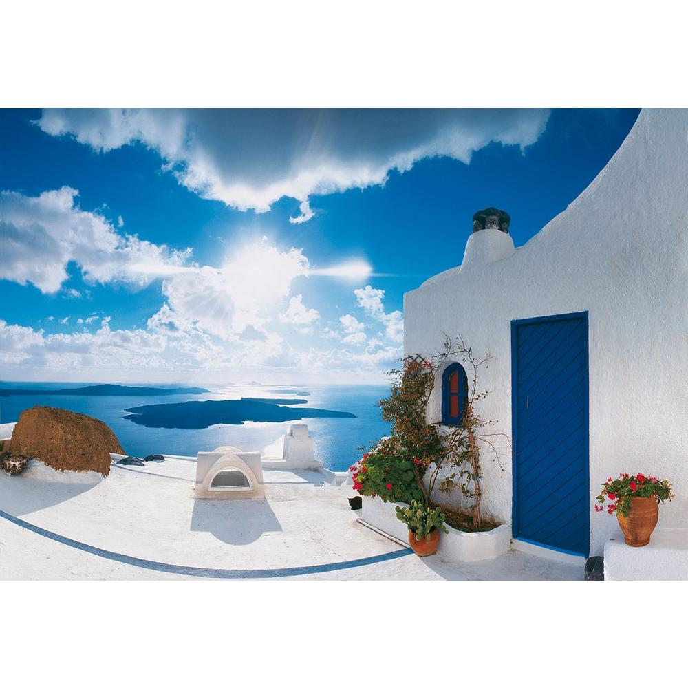 ideal decor 100 in x 144 in santorini sunset wall mural dm269 the home depot. Black Bedroom Furniture Sets. Home Design Ideas