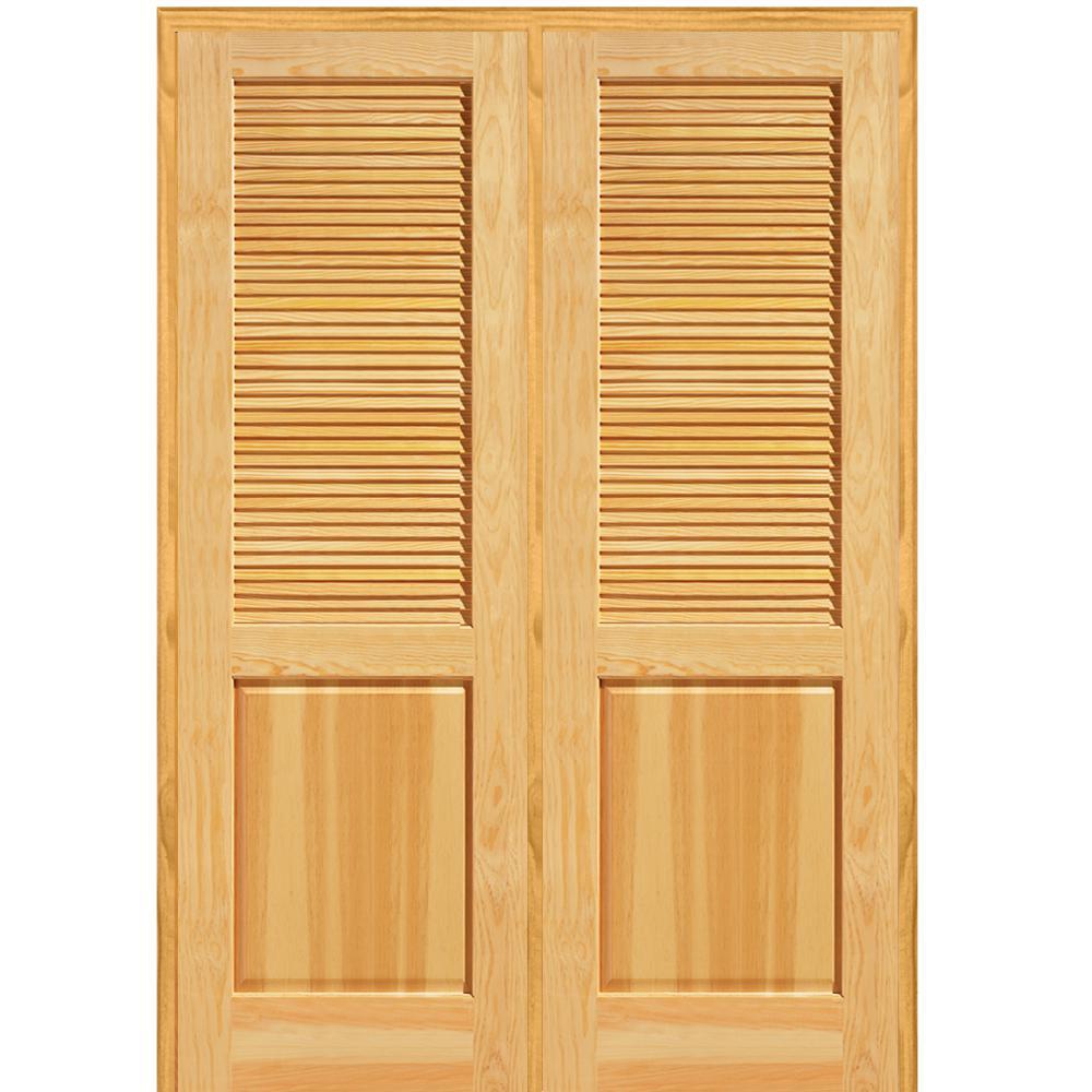 60 in. x 80 in. Half Louver 1-Panel Unfinished Pine Wood Left Hand Active  Double Prehung Interior Door