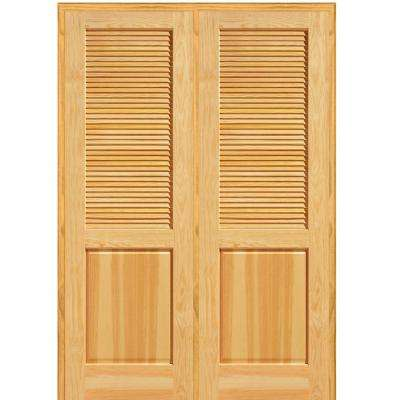 French Closet Doors In 60 In 80 Half Louver 1panel Unfinished Pine Wood Left Panel Mmi Door French Doors Interior u0026 Closet The