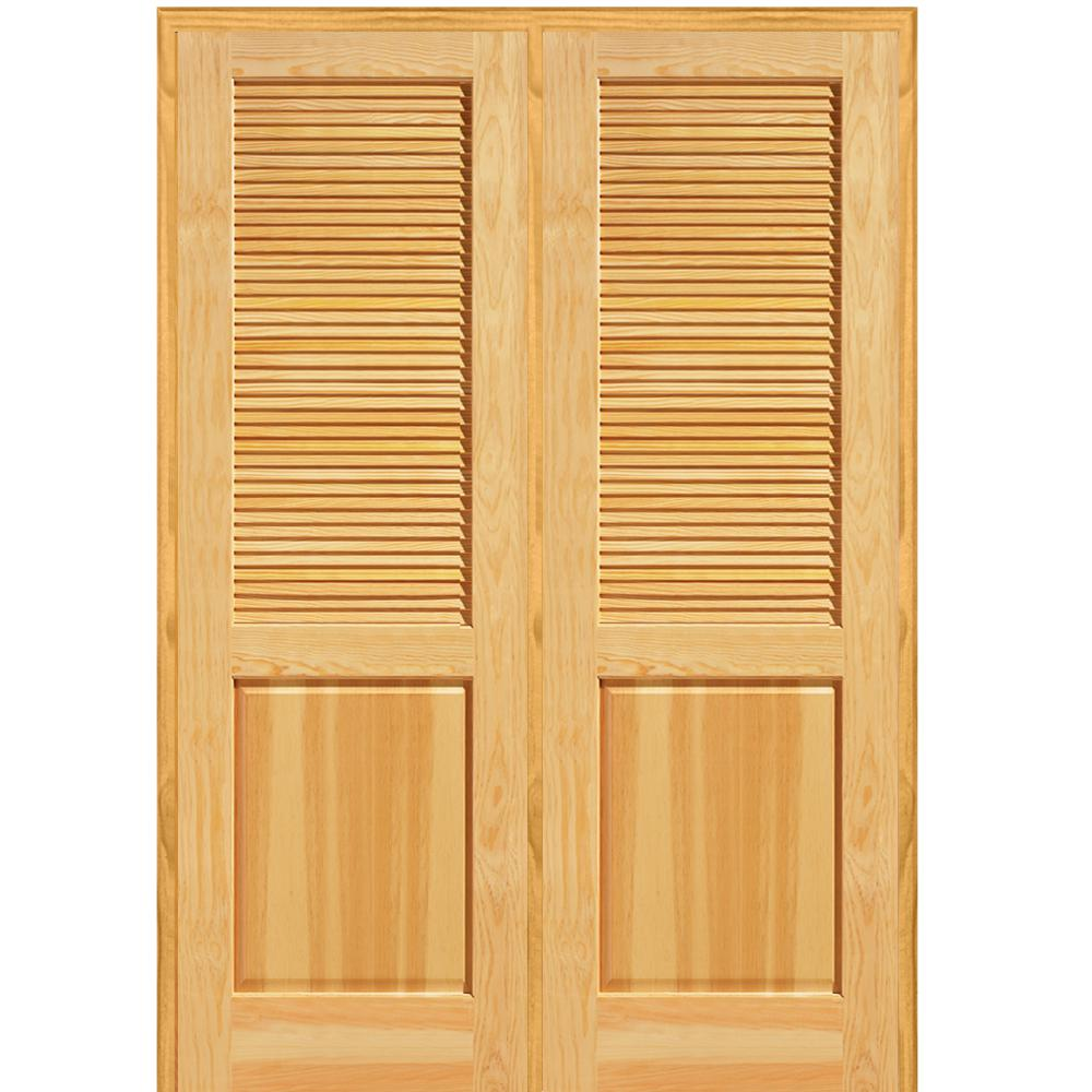 Mmi door 62 in x in unfinished pine half louver 1 for Wooden french doors