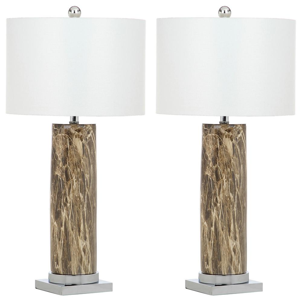 Safavieh Sonia 31.25 Brown Faux Marble Table Lamp (Set Of 2)