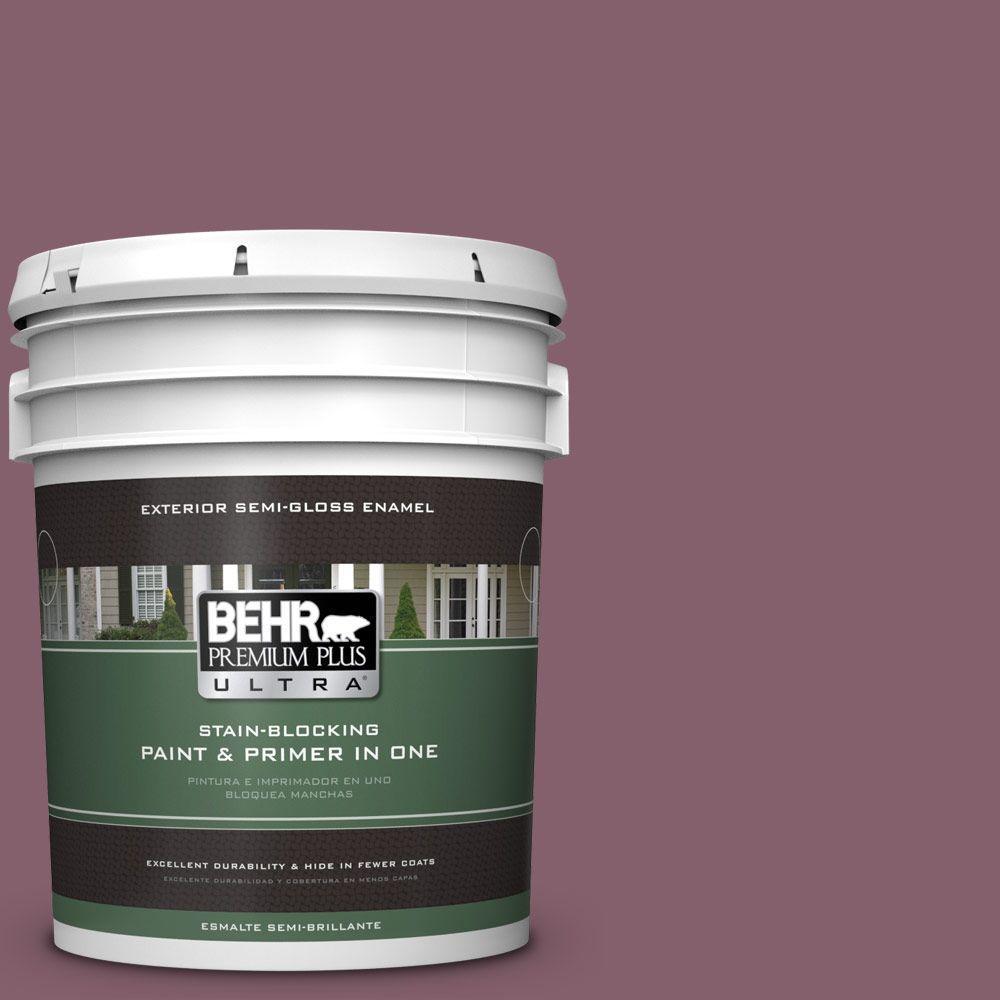 BEHR Premium Plus Ultra 5-gal. #BIC-35 Vintage Plum Semi-Gloss Enamel Exterior Paint