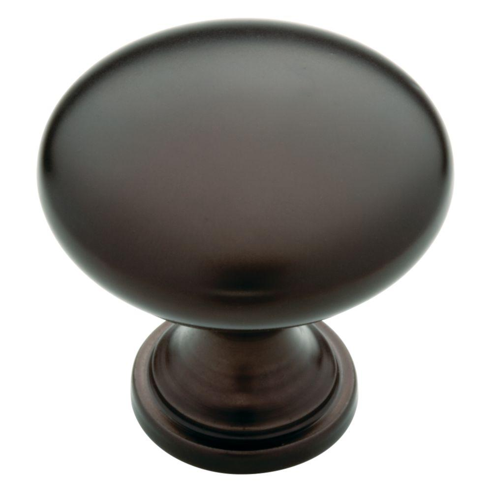 Classic Round 1-1/4 in. (32mm) Dark Oil Rubber Bronze Hollow Cabinet