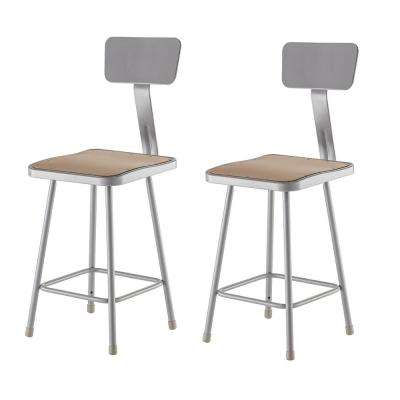 NPS 24 in. Grey Heavy Duty Square Seat Steel Stool With Backrest (2 Pack)