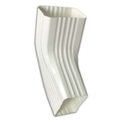 3 in. x 4 in. White Vinyl Downpipe - A/B Elbow