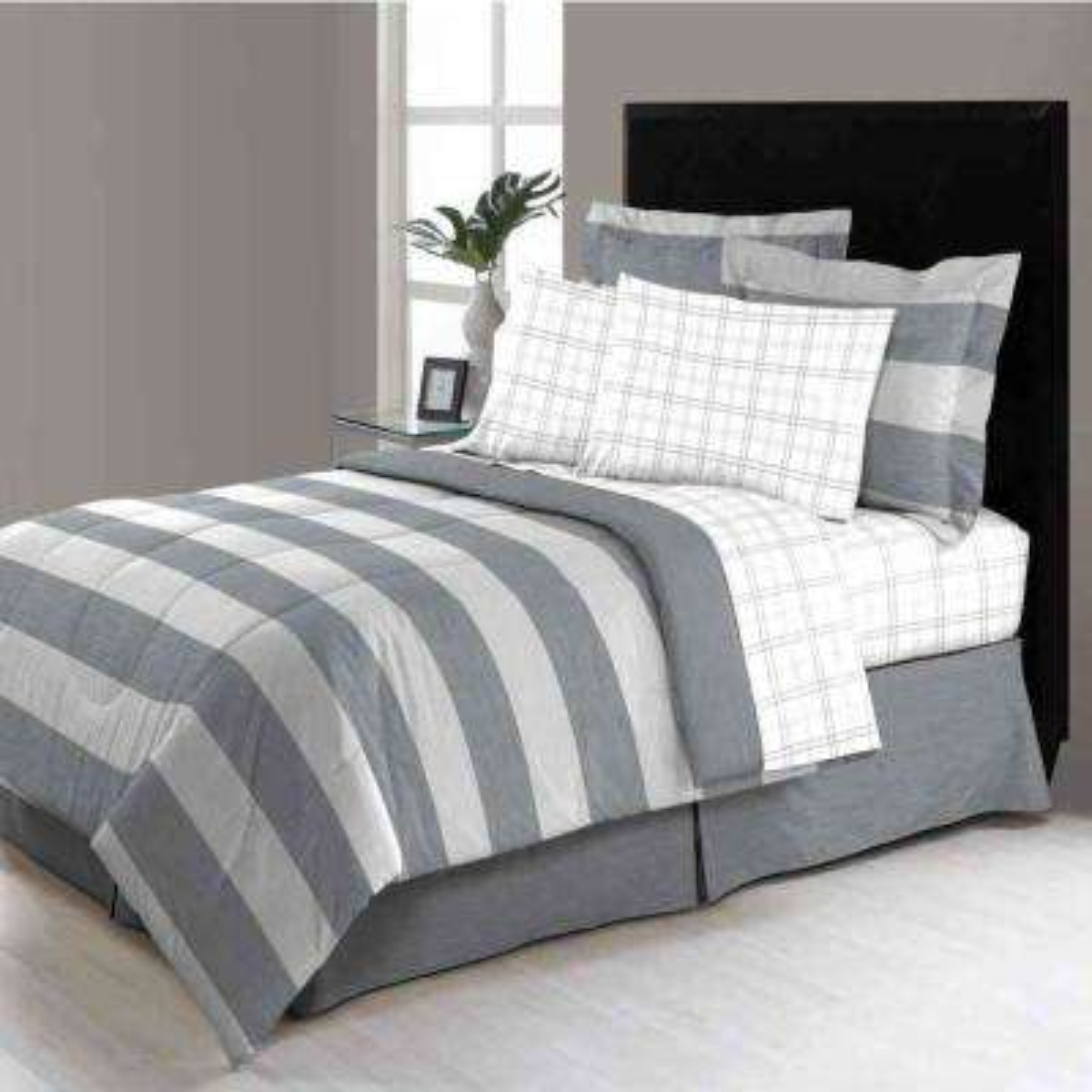 Briggs Grey 8-Piece King Bed in a Bag Comforter Set