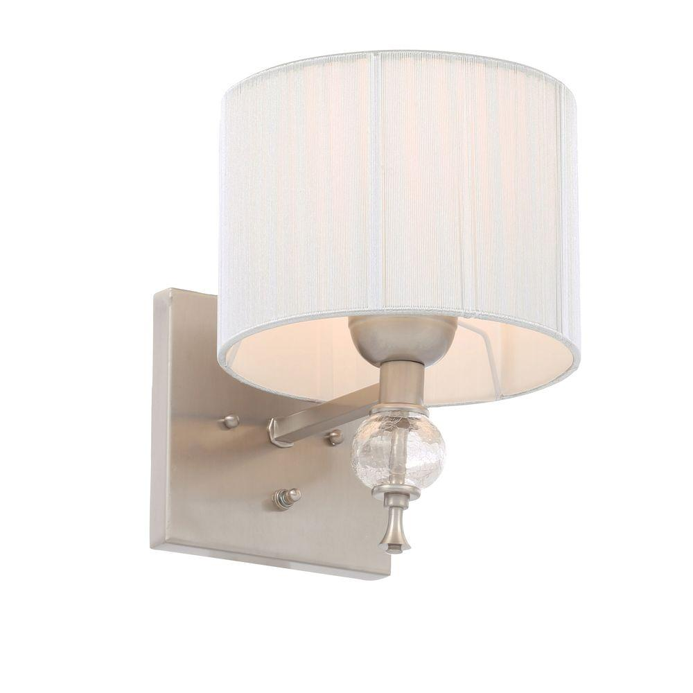 Bathroom wall sconces with shades - World Imports Bayonne Collection 1 Light Brushed Nickel Sconce With Silver String Lined Shade