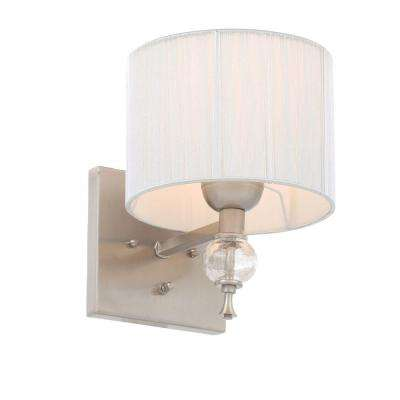 Bayonne Collection 1-Light Brushed Nickel Sconce with Silver String Lined Shade