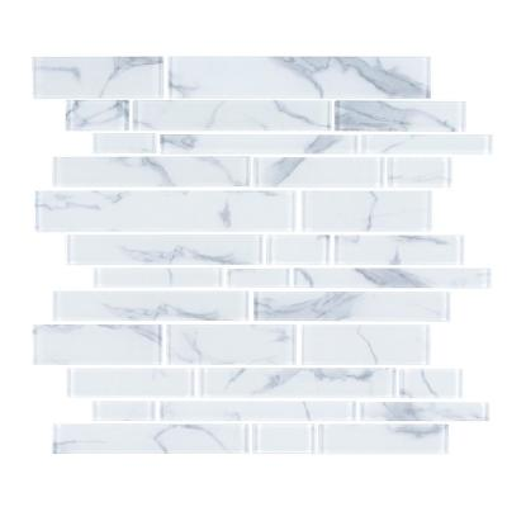 Hampton Cove White 11.625 in. x 11.625 in. Interlocking Glossy Glass Mosaic Tile (0.938 sq. ft./Each)