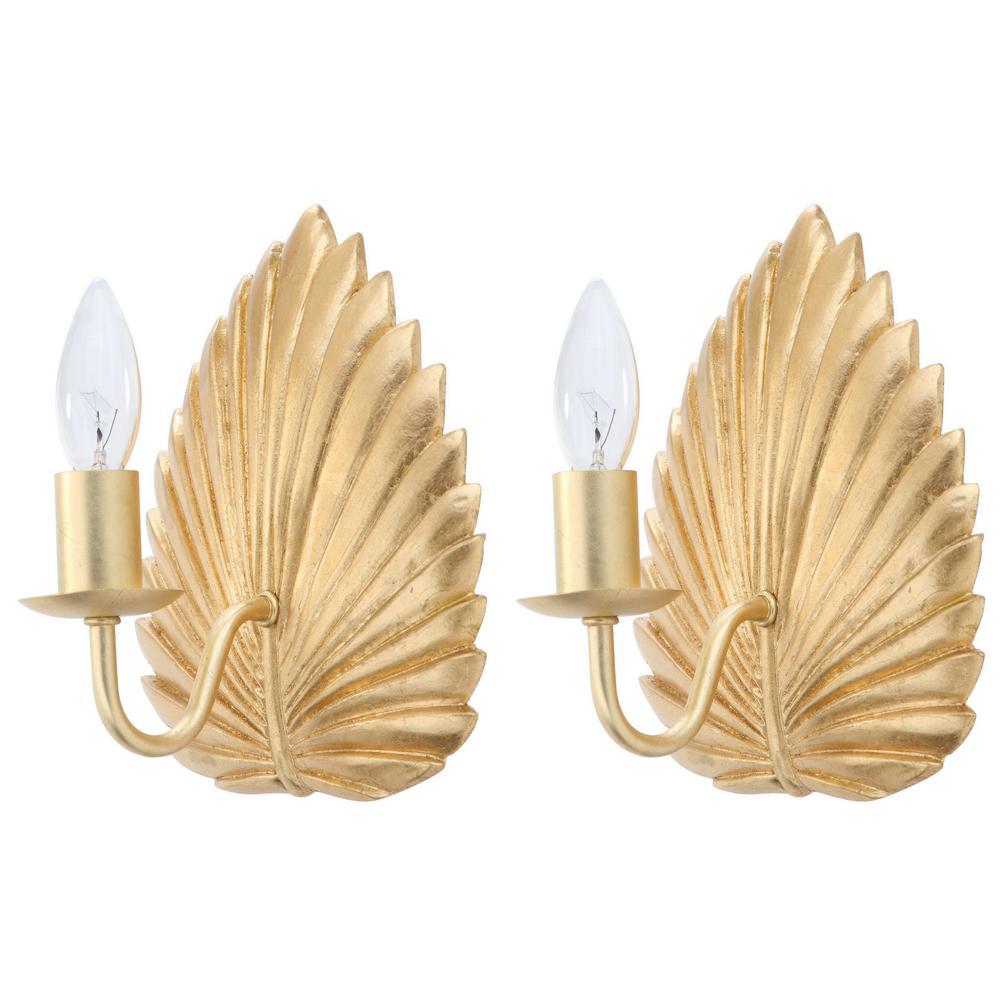 Adonis 1-Light Gold Leaf Wall Sconce (Set of 2)