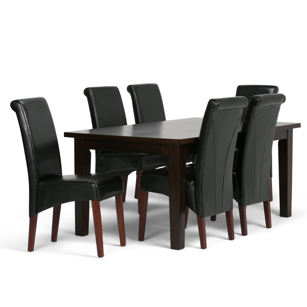 Simpli home avalon 7 piece midnight black dining set