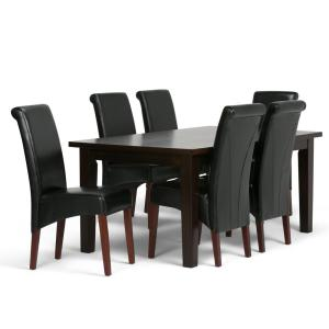 Simpli Home Avalon 7-Piece Dining Set with 6 Upholstered ...