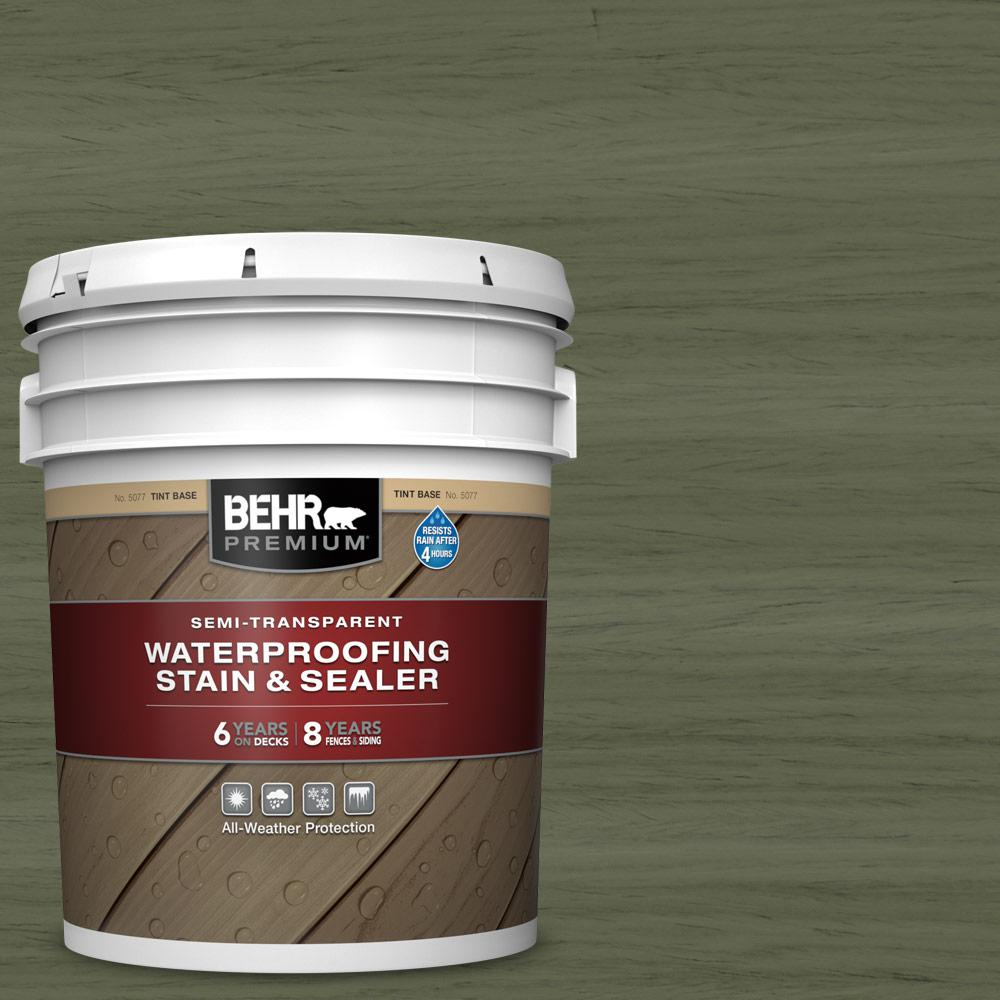 BEHR Premium 5 gal. #ST-138 Sagebrush Green Semi-Transparent Waterproofing Exterior Wood Stain and Sealer
