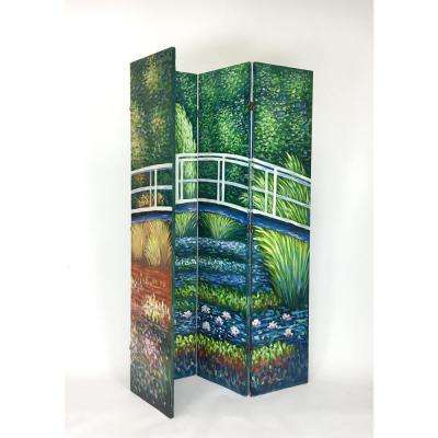 Green Hand Painted Double Side Screen