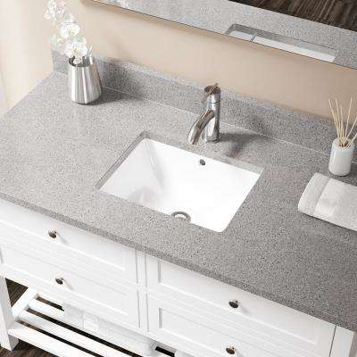 Undermount Porcelain Bathroom Sink in White with Pop-Up Drain in Chrome