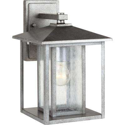 Hunnington 1-Light Outdoor Weathered Pewter Wall Mount Fixture