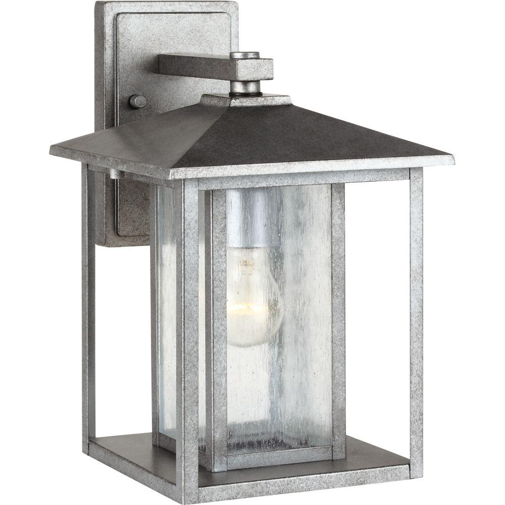 Sea Gull Lighting Hunnington 1 Light Outdoor Weathered Pewter Wall Lantern Sconce Fixture