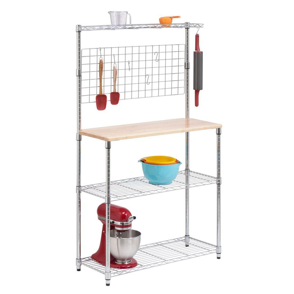 Honey-Can-Do Bakers Rack with Shelves and Hanging Storage