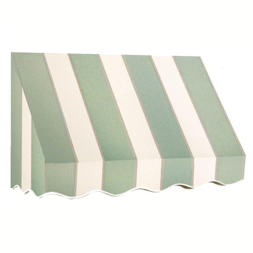 AWNTECH 12 ft. San Francisco Window/Entry Awning (56 in. H x 36 in. D) in Sage/Linen/Cream Stripe