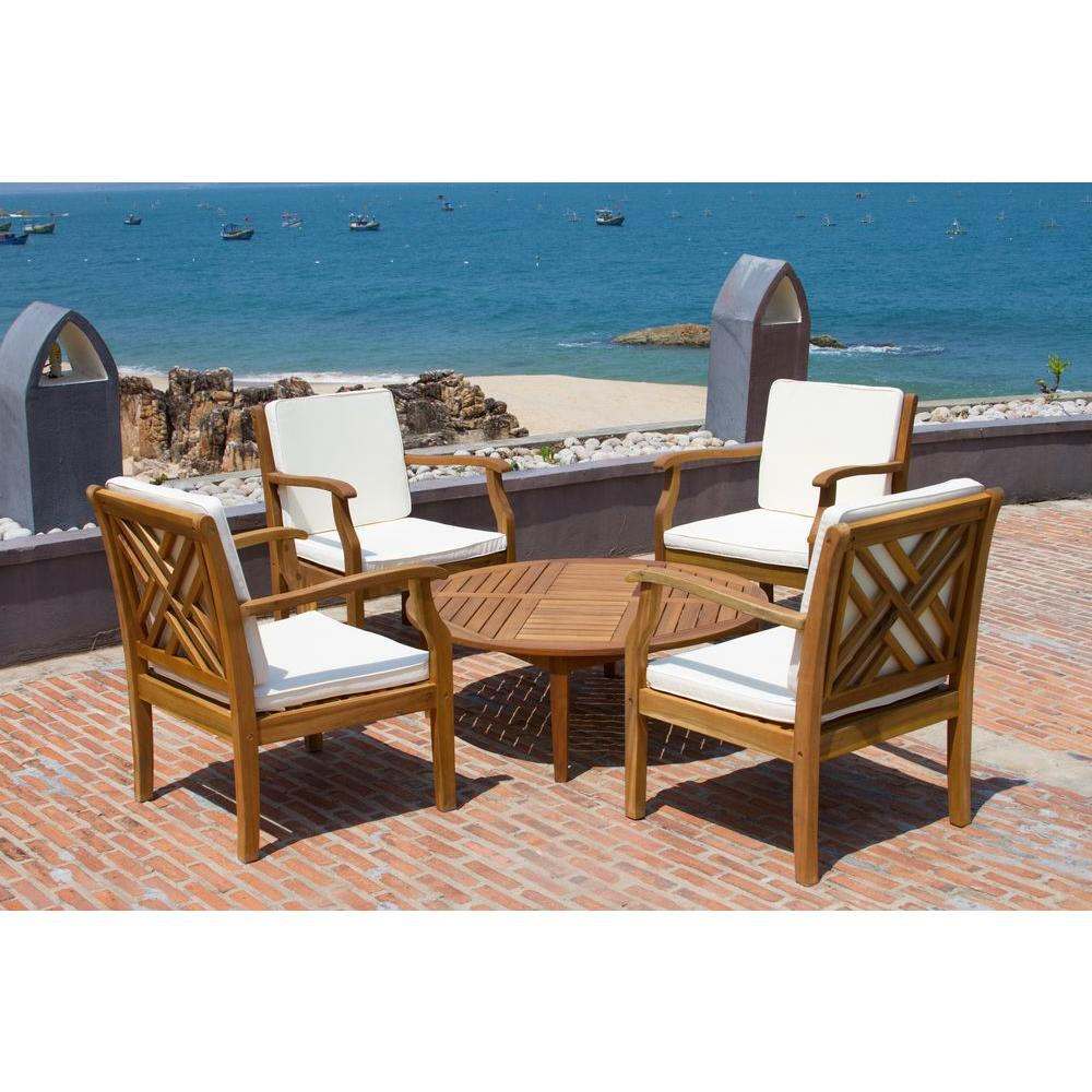 Safavieh Anaheim Teak Brown 5 Piece Outdoor Patio Conversation Set With Beige Cushions