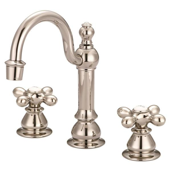Vintage Classic 8 in. Widespread 2-Handle High Arc Bathroom Faucet with Pop-Up Drain in Polished Nickel