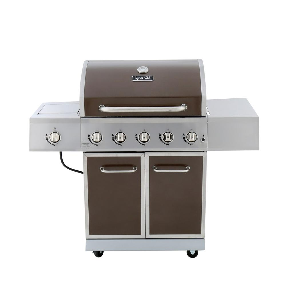 dyna glo 5 burner propane gas grill in bronze with stainless steel